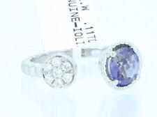 14K White Gold Natural Blue Iolite Real White Diamonds High Polish Finish Ring