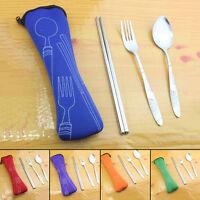 Outdoor Stainless Steel Chopsticks Fork Spoon travel Dinnerware Tableware Set EB