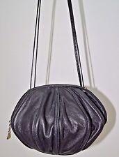 Vintage Bravo Black Leather Round Purse Shoulder Bag Suede Lining