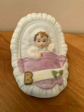 Enesco Growing Up Birthday Girls Brunette Baby in Cradle-1987, Great Condition!
