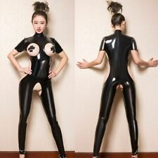 Women Latex Catsuit Bodysuit CLUB Costume Crotchless Footed Jumpsuit For Girls
