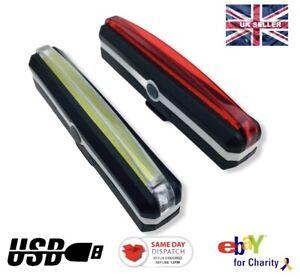 LED USB Rechargeable Bike Bicycle lights White Front Red Back & Spoke Lights UK