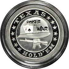 Casino Poker Card Guard Cover Protector POKER WAR silver color