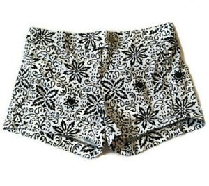 J. Crew Chino Shorts Stretch Floral Black White Size 2