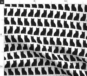 Cat Black And White Cat Lady Cat Head Cats Spoonflower Fabric by the Yard