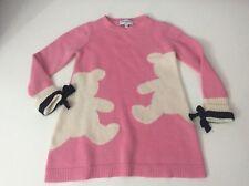 Simonetta Mini Dress 50% LANA Wool Size 122 Age 6 Years Pink Long Sleeve