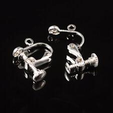 10 Brass Clip-on Earring Blanks Adjustable Screw Back w/ Loops Non-Pierced 17mm