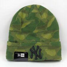 New Era Cap Men's MLB NY Yankees Team Camo Green Knit Winter Beanie Hat
