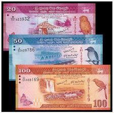 Sri Lanka Banknote Set 3pcs (UNC) 20,50,100 Rupee  全新  斯里兰卡3张(20,50,100卢比)