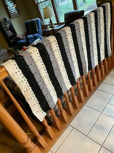 "Hand Crocheted Striped Afghan 60"" x 42"" Black, Grey, & Ivory"