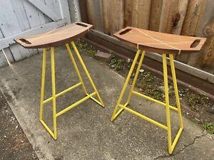 Set of 2 Dining Stools 18h Tronk Design Robert Walnut Yellow Metal Base
