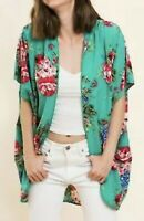 New Umgee Women Size S M Green Floral Open Cardigan Kimono Topper