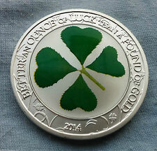 Palau 2014 5$  1 Troy Oz Sterling Silver Four-Leaf Clover coin - MISSMINT - UNC