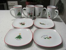 8 Pc Fitz And Floyd Christmas Happy Holidays Latte Mug & Plate Set 2007