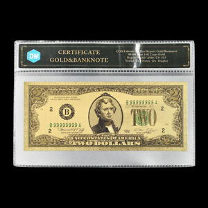 US Gold Banknote 2 Dollars Paper Money Bill Souvenir Craft with Plastic Card