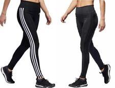 Adidas Womens 3 Stripe Gym Tights Leggins Climalite Gray/Black white Size XS-XL