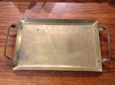 Vintage Brass Rectangle Serving Tray W/ Handles, Flowers