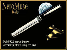 Eclipse! Handmade SILVER Fountain Pen Pelikan Cartridge Handmade Nobel Material