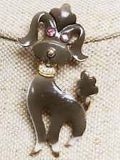 Vintage Signed Mamselle Grey Brown Enamel Rhinestone Poodle Dog Pin Brooch