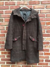 A.P.C. Brown Button Up Plaid Hooded Pea Coat Jacket Wool Blend 2 Small S * RARE
