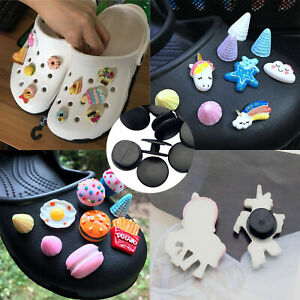 50PCS/Lot Black Buckle Plastic Button For Slipper Shoe Decor Charms DIY Making