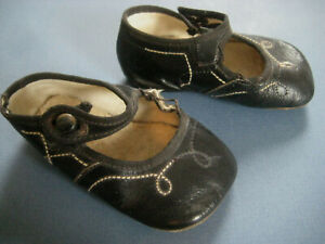 Baby SHOES antique vintage black leather Mary Janes doll shank button rsop261