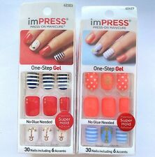 Lot of 2 imPress by Kiss Press On Manicure Nail Set Nautical Anchor Summer