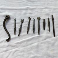Antique drill bit set primitive marked Wynn hand forged eight bits with handle