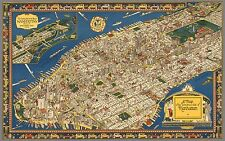 Wondrous Map of Manhattan New York City in 1926 Art Deco Style 24 x 15