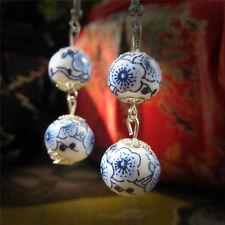Womens Long Double Ceramic Pendant Dangle Earrings Blue And White Porcelain