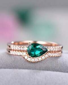 3Ct Pear Cut Green Emerald Bridal Women's Engagement Ring 14K Rose Gold Over