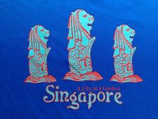 VINTAGE SINGAPORE BLUE T SHIRT MEDIUM