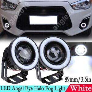 3.5in Car Angel Eye White Halo Ring LED DRL Projector Len Fog Driving Light Lamp
