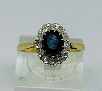 Beautiful 18ct Yellow Gold Sapphire & Diamond Ring Size L - Very Good Condition