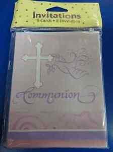 Faithful Dove Cross Pink Religious Christian Party Invitations - Communion