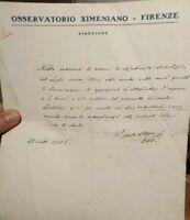 1926 109) LETTERA DEL GRANDE GEOLOGO E SISMOLOGO FIORENTINO PADRE GUIDO ALFANI