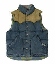 Polo Ralph Lauren SouthWestern Denim Leather Men's Down Vest Jacket Size L RRL