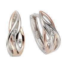ZEEme Silver Creolen Ohrringe 925 Sterling Silber zweifarbig poliert Damen NEU