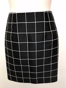 JOSH GOOT black white check pencil lined skirt size 12 (large) silk blend