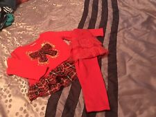 Size 2T Red Little Girls Two Peice Outfit By Garanimals