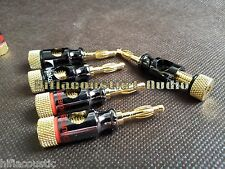 16pcs Nakamichi Gold Plate Speaker Cable Spade To Banana Plugs Adapter