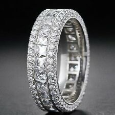 18K White Gold Plated Women's Princess Cut Pave Eternity Wedding Band Ring