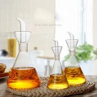 Oil Dispenser Glass  Olive Oil Vinegar Bottles Spout Pourer Kitchen Cooking BBQ