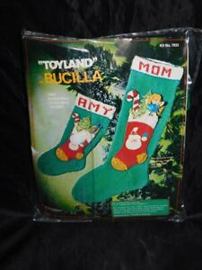 Vintage Bucilla Toy Land Christmas Stocking Knitting with Felt Applique Kit 22""