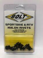 Bolt MC Hardware 2005-7SRIV M7 Push /& Pry style Black Nylon Rivets