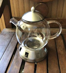 BergHOFF Loose Tea Infuser 1.4 Qt. Glass Teapot Candle Base