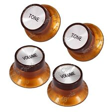 4 Pcs Silver Top Electric Guitar Speed Control Knobs Buttons (2 Volume & 2 Tone)