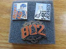 (3) WAYNE GRETZKY 802 All-Time Goal Scorer PIN SET Pins EDMONTON OILERS / KINGS