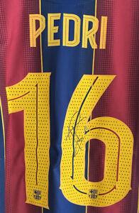 Signed PEDRI Barcelona Football Shirt SEE PROOF Spain Autograph Jersey