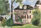 Frachon Petit Chateau Au Pays Basque  Encre Et Et Aquarelle